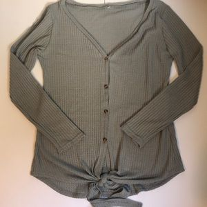 Sweaters - Gray botton down sweater with tie bottom